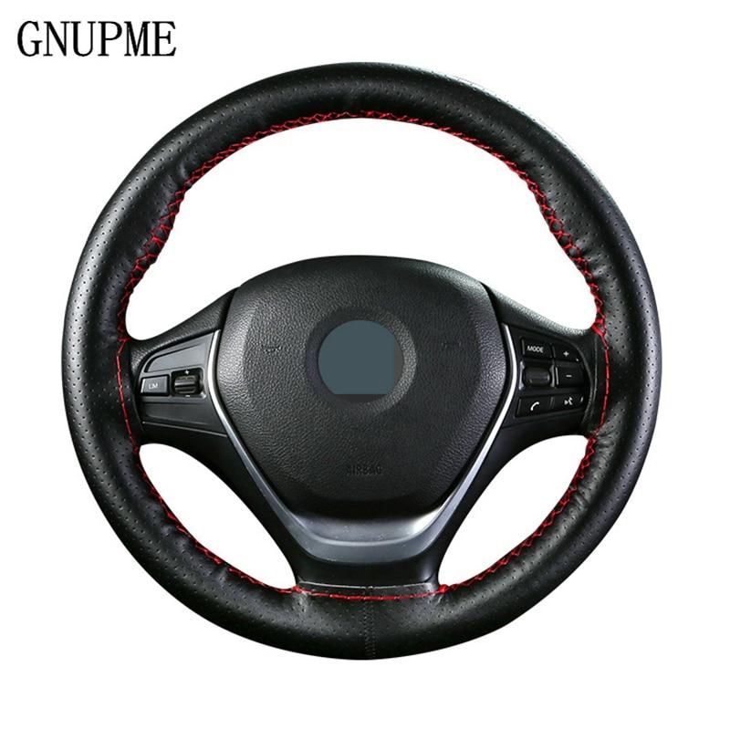 GNUPME cubierta de volante cosida a mano de 36-40 cm DIY de cuero trenza con agujas en el hilo de rosca de estilo de coche fundas de dirección