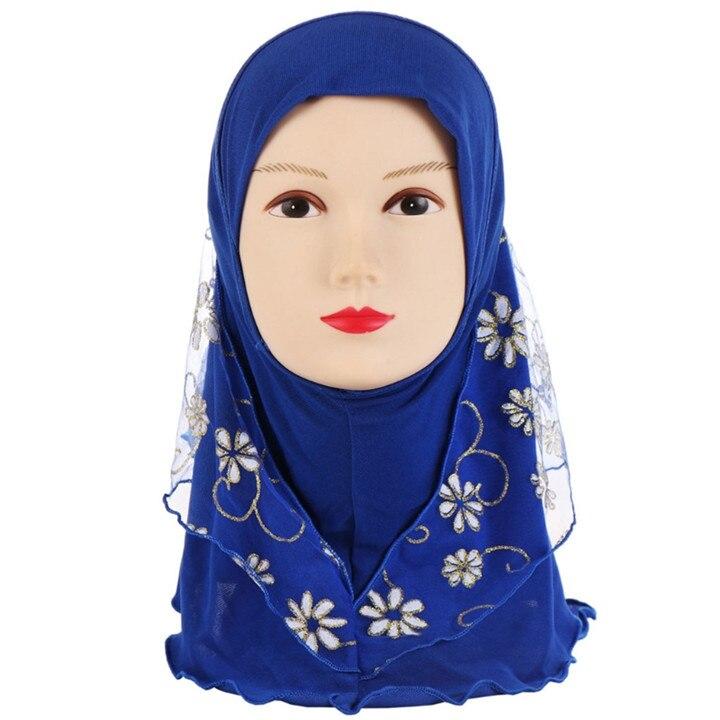 Image 5 - Детский мусульманский хиджаб для маленьких девочек с кружевным  цветочным узором, исламский шарф, шали, растягивающиеся 56 см, От 7 до  11 летАксессуары для волос
