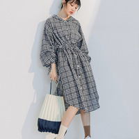 SHENGPALAE 2018 New Pattern Korean Flare Sleeve Hooded Fashion Tide Black Plaid Waist Tie Sunscreen Woman Autumn Shirt OA017