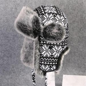 Image 3 - BUTTERMERE רוסית פרווה כובע Ushanka שחור לבן כובעי מפציץ זכר נקבה אוזני כלב חורף עבה חם סריגה חיצוני הצייד כובע
