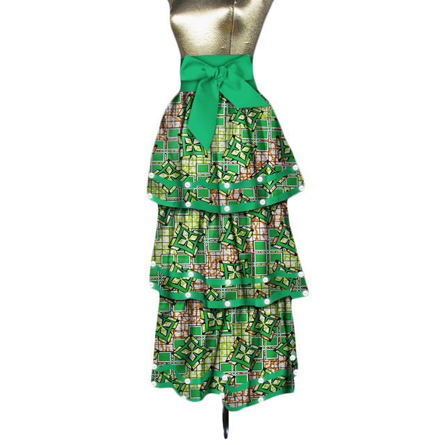 2018 Women Cascading Princess Long Skirts Bazin Riche African Print Patchwork Pearl Skirts 100% Cotton African Clothing WY3427