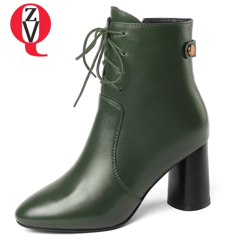 ZVQ genuine leather ladies round toe newest fashion high strange style women ankle boots cross-tied zipper black and green shoes все цены