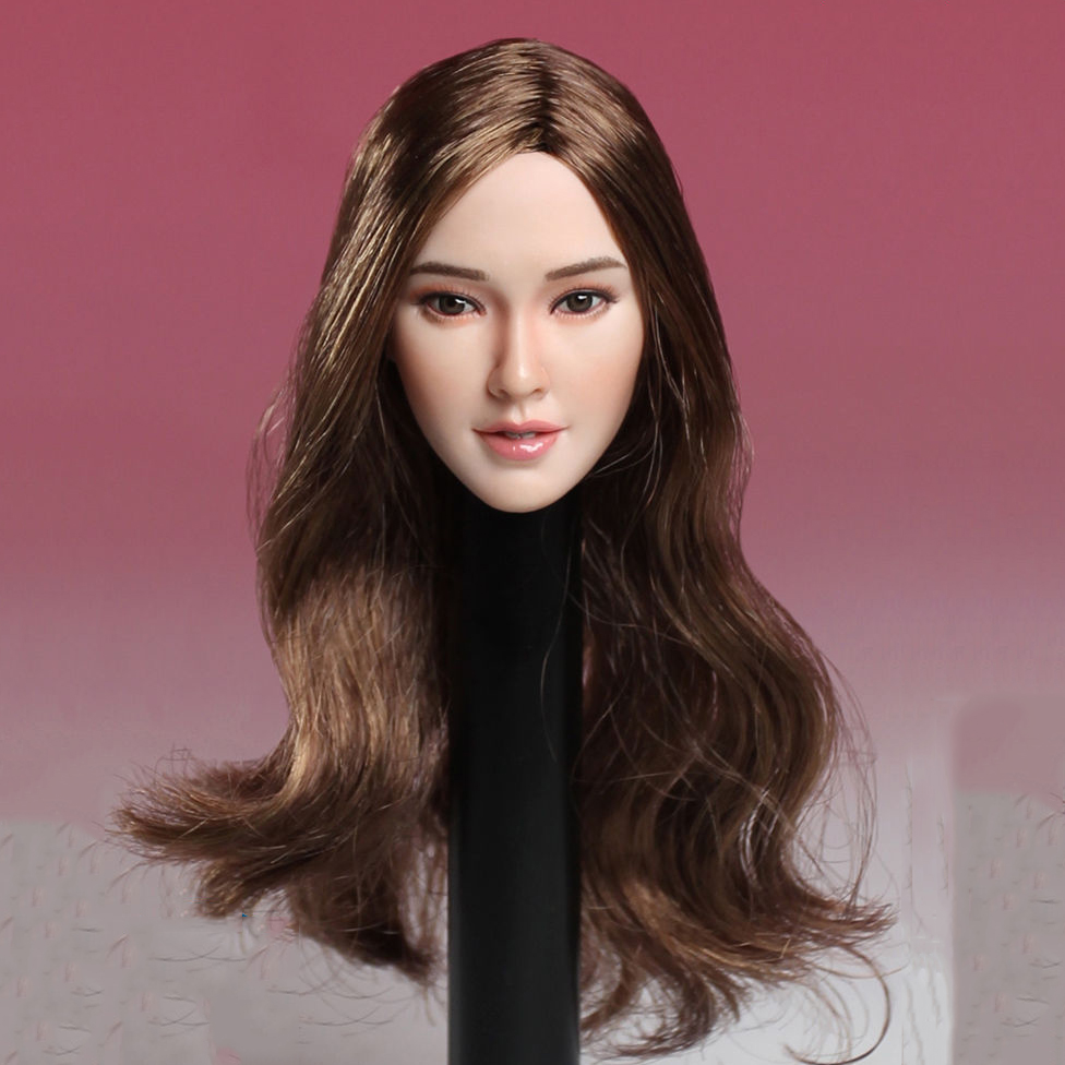 SUPER SDH001 DUCK 1/6 Scale Female Head Sculpt Brown/Black Hair Similiar to Angelababy for PH Jiaodoll Action Figure 1 6 scale asian female head sculpt with black long hair models toys for 12 female action figure