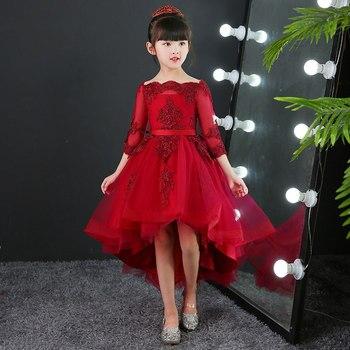 1f57f7e63d52d85 Детские свадьбы, памятные события, Вечерние Платья с цветочным узором для  девочек, благородное Бордовое