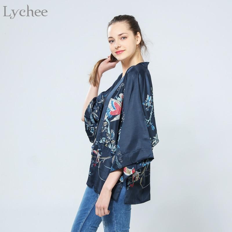 ad1b2cec9a1 Lychee Harajuku Summer Women Japanese Kimono Phoenix Printed Bat Sleeve  Loose Cardigan Sun Protection Blouse -in Blouses & Shirts from Women's  Clothing ...