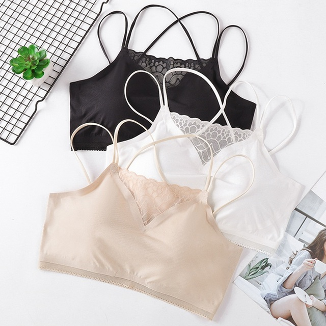 Women Seamless Padded Vest Tanks Top Sexy Lace Vest Underwear Mesh Fitness Tube Top Camisoles