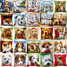 Dog STYLE Collection 01 DIY Needlework Kit  Acrylic Yarn Embroidery Pillow Tapestry Canvas Cushion Front Cross Stitch Pillowcase