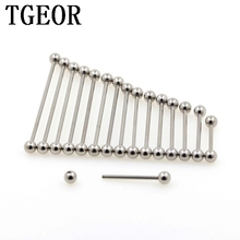 wholesale scaffold barbells 100pcs Stainless Steel 14G 5mm ball industrial STRAIGHT barbell piercing free shipping