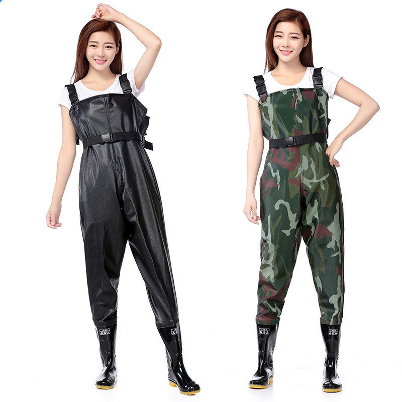 Outdoor anti-wear breathable chest long wading pants camo waterproof PVC men women fishing waders boots shoes jumpsuit trousers drawstring spliced camo jogger pants