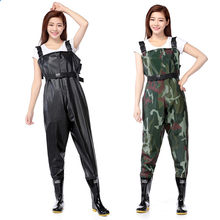 Al aire libre antidesgaste transpirable pecho largo wading pantalones camo impermeable PVC hombres mujeres pesca waders botas Zapatos jumpsuit Pantalones(China)