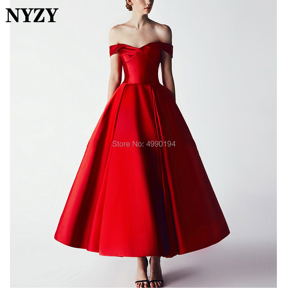 Robe   Cocktail     Dresses   NYZY C153 Elegant Vintage Satin Celebrity Red Carpet   Dresses   Party Homecoming abendkleider 2019