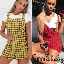 Fashion Women s Boho Cotton Plaids Romper Playsuit Jumpsuit Ladies Summer Party Strapless Overalls Harem Short