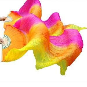 Image 2 - גבוהה באיכות 100% סיני משי רעלות אוהדי ריקוד 1 זוג בטן ריקוד אוהדי במבוק צלעות ארוך משי אוהדי 180*90cm בעבודת יד אבזרי ריקוד