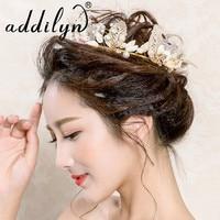 2018 New Fashion Baroque Luxury Crystal Bridal Crown Tiaras Gold Dry Flower Tiaras For Women Bride