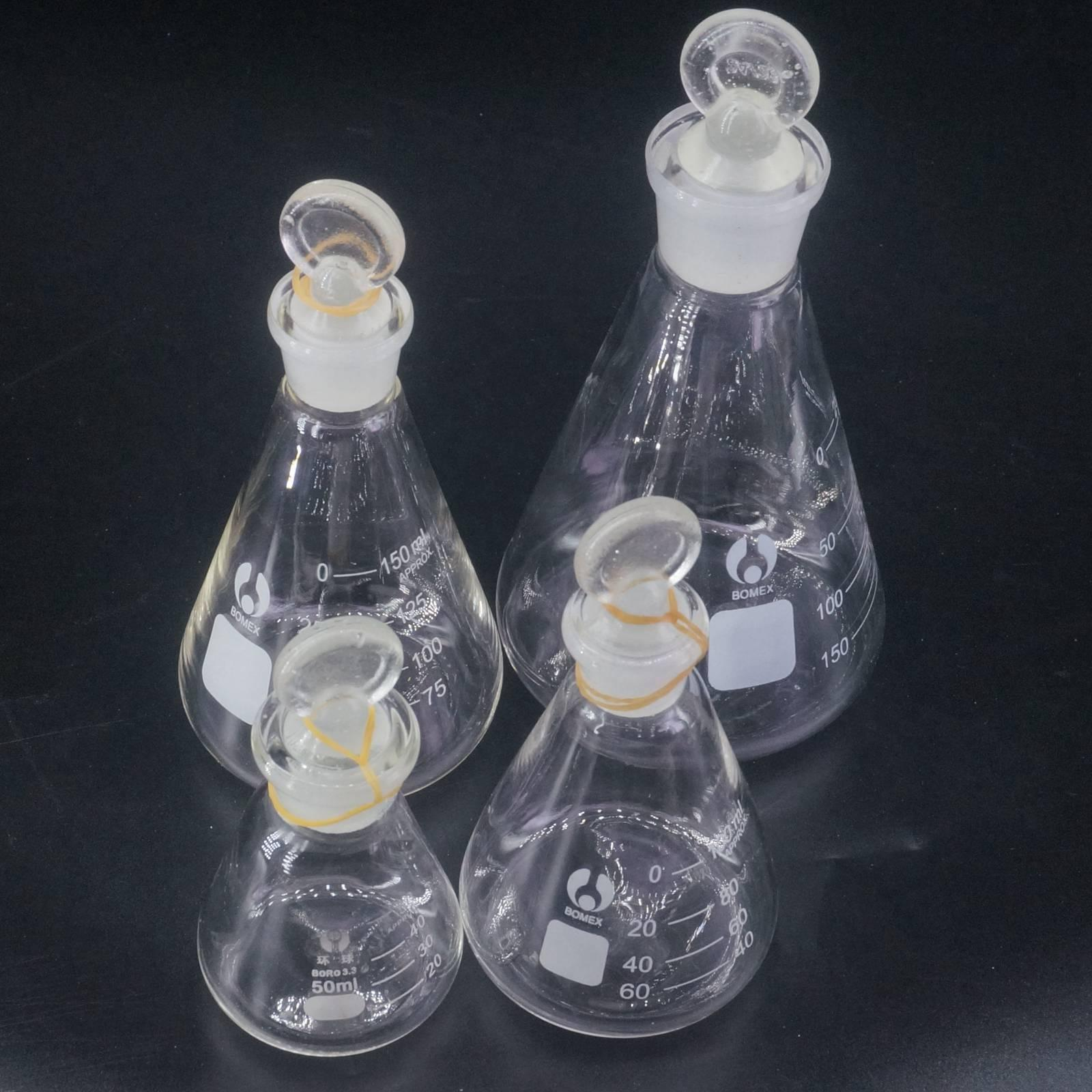 50ml 100ml 150ml 250ml 500ml 1000ml Lab Borosilicate Glass Erlenmeyer Conical Flask With Ground-in Stopper