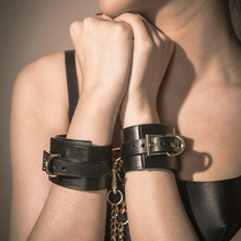 Adult Sex Toys Kits Bondage Cowskin Leather BDSM Genuine Handcuffs Restraint Set Adventure Leash Chains