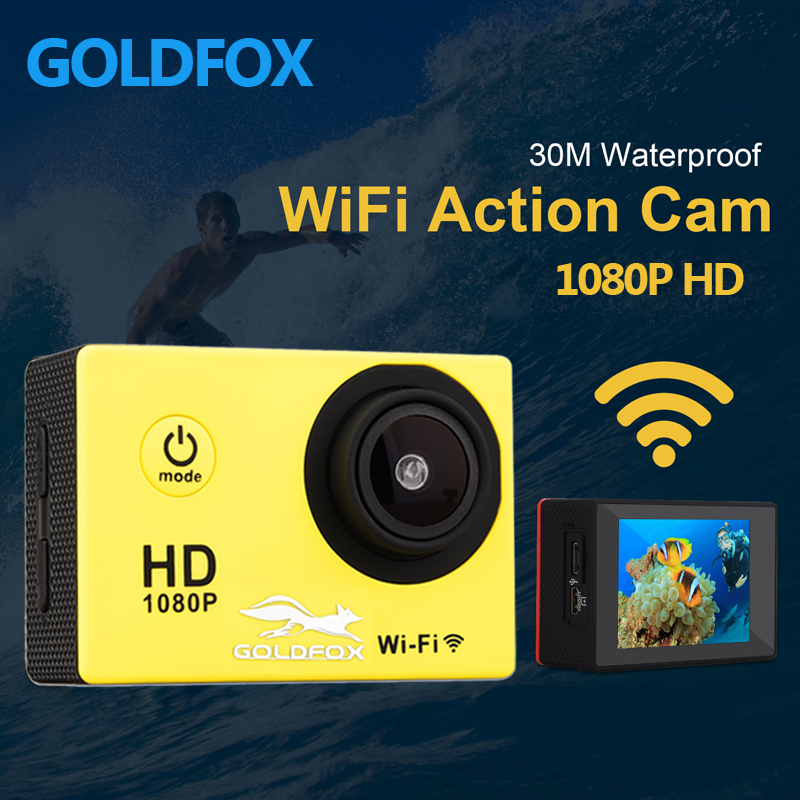 GOLDFOX 1080P Full HD Wifi Wireless Remote Control Sport Camera 30M Go Waterproof Pro Action Camera Bike Helmet mini camera 2017 arrival original eken action camera h9 h9r 4k sport camera with remote hd wifi 1080p 30fps go waterproof pro actoin cam