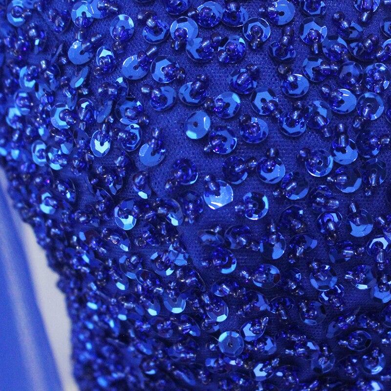 Longues robes de bal v-cou demi manches a-ligne à lacets grande taille Sexy robe de bal pour les femmes crêpe robes de bal 2018 avec perlé - 4