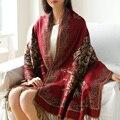2015 outono e inverno nova moda tendência nacional jacquard ultra térmica capa cachecol dupla