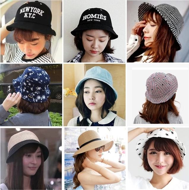 4eea0e040cb Summer Cotton Bucket hat collection Korea Style Sun Straw Hats for Men and Women  fisherman Cap can fold free shipping