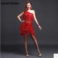 High Quality Sexy Tassel Latin Dance Dress Fringe Latin Dance Costumes Shoulder Sequins Fringed Dress Latin