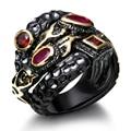 Dc1989 special design único ouro preto contraste das mulheres anéis rose & siam zircão cúbico definir material favorável ao meio ambiente