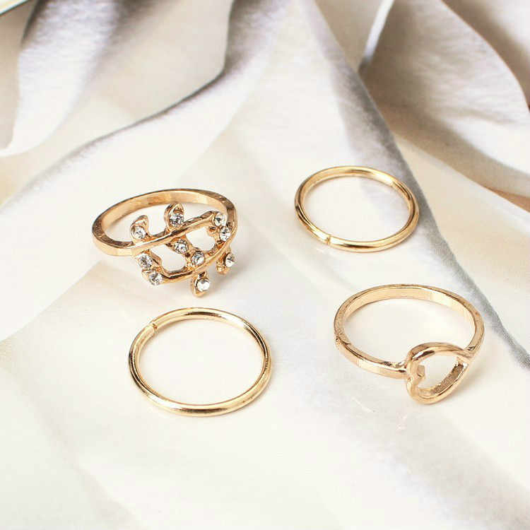1 Set Elephant Ring Style Gold Color Knuckle Rings For Unisex Finger Knuckle Rings