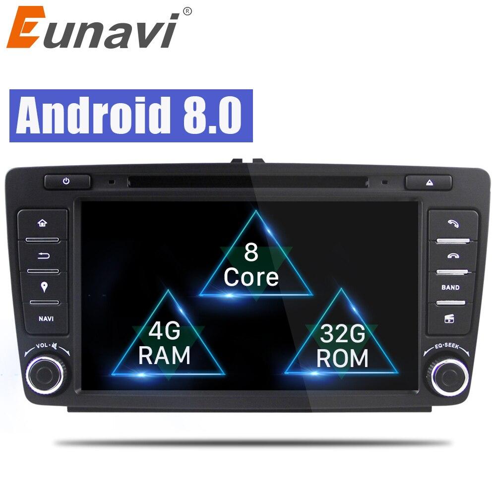 Eunavi 1024*600 Car DVD Player For Skoda Octavia 2014 2015 A7 Octa Core Android 8.0 GPS Navigation Radio Multimedia Support DAB+ цена