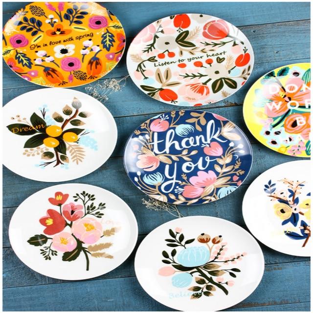 plante fleur vaisselle plat porcelaine plaque de fruits petit d jeuner cr atif circulaire en. Black Bedroom Furniture Sets. Home Design Ideas