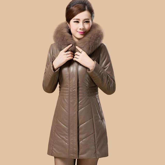 bb67682e2a2 2018 Ultra Plus Size Faux Sheepskin Leather Jacket Women Coat Female Slim  Faux Fox Fur Collar Hooded Down Cotton Parka WUJ0661