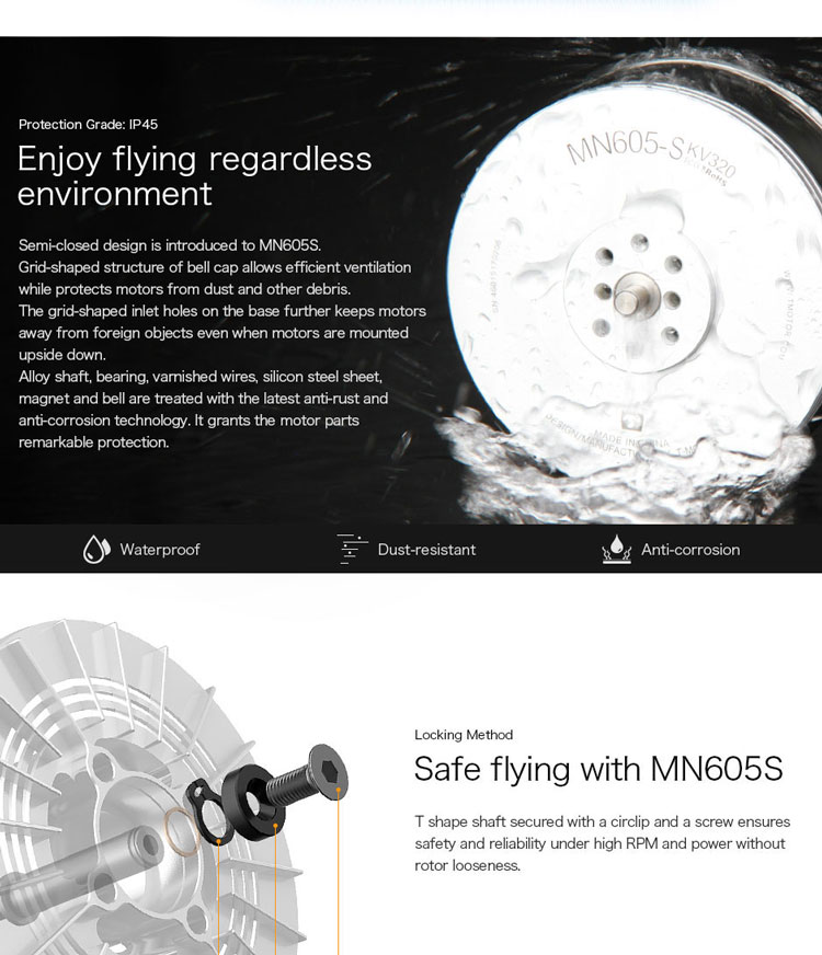 T-motor Newest 8.1KG+ Thrust MN605-S KV320 KV170 2Pcs/Set For RC Boat Drone Airplane Aircarft Quadcopter Hexacopter