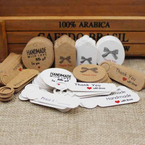 1.18inch 100pcs kraft print paper hand made tag with love for DIY Gift box tag candy cupcake handmade favors name brand tag Islamabad