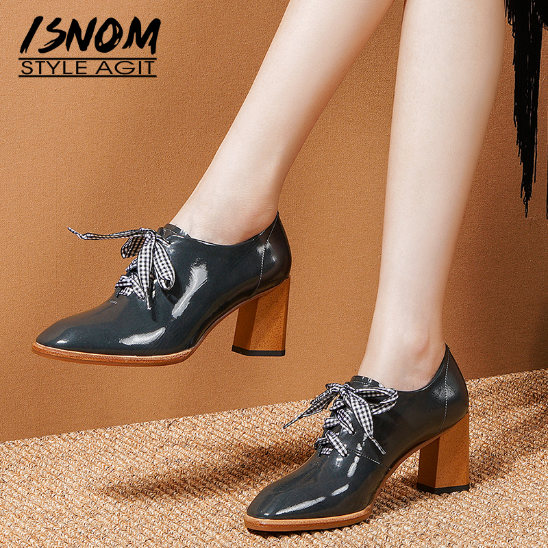 ISNOM Plaid Lace Up Pumps Women Genuine Leather Pumps Woman High Heels Shoes Female Square Toe