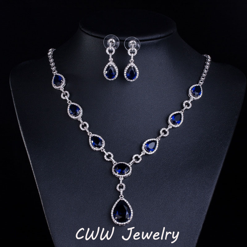 CWWZircons Luxury White Gold Color AAA Swiss CZ Bridal Royal Blue
