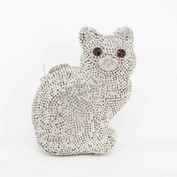 Luxury Crystal Rhine Stone Women Clutch Evening Bag Silver Cute Cat Wedding Prom Party Clutch Purse