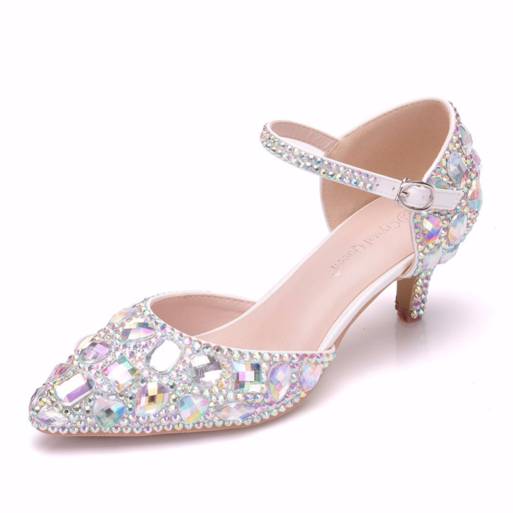 d1f511fdc50 Crystal Queen 5cm Mary Jane Shoes Thin Heels Pointed Toe Small Heel Sandals Rhinestone  Wedding Shoes Women Pumps Plus Size 42