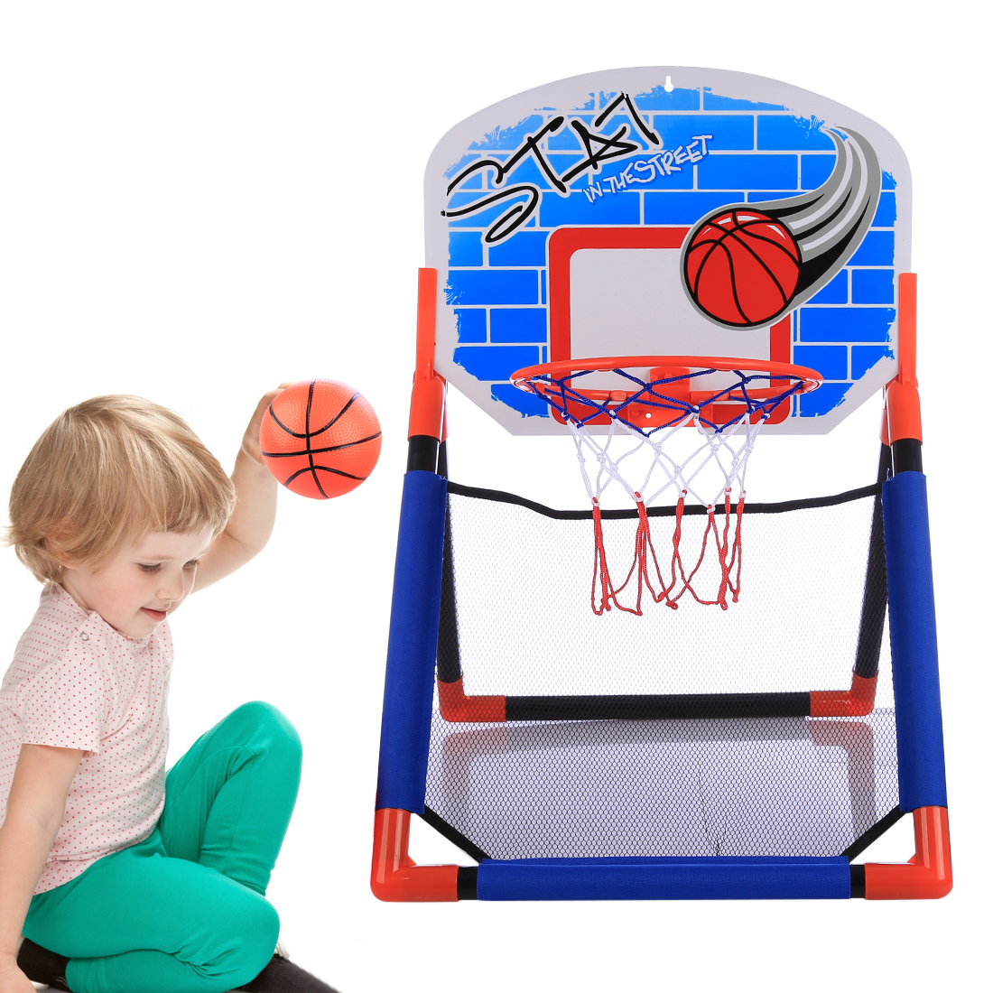 Surwish 2018 New Children Sports Multifunctional Basketball Rack Indoor Outdoor Basketball Hoop Toys Set For 3-10 Years Old