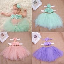 Одежда с цветочным принтом для маленьких девочек+ повязка на голову+ юбка-пачка, костюм для фотосессии, комплект из 3 предметов с юбкой