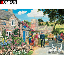 HOMFUN 5D DIY Diamond Painting Full Square/Round Drill Country scenery Embroidery Cross Stitch gift Home Decor Gift A08336