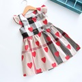 New baby Girls high quality party dress baby girls spring summer plaid clothing 2-6y toddler kids Tutu heart print dress