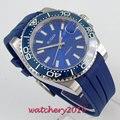 Мужские механические часы с синим циферблатом  39 мм  с сапфировым стеклом