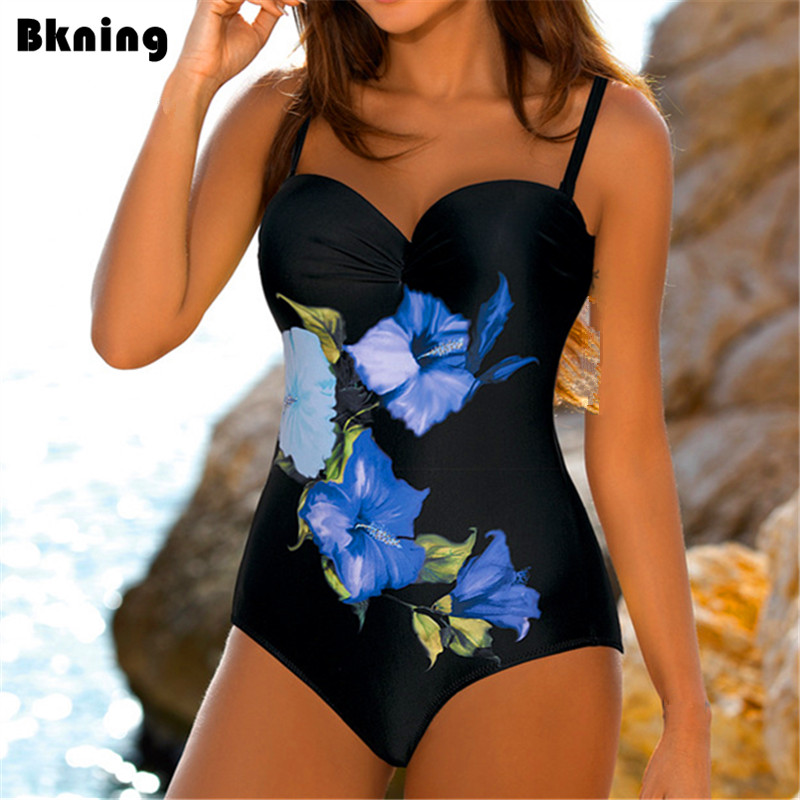 Flower One Piece Swimsuit Female Swimwear 2018 Trikini Mayokini Push Up Monokini Plus Blue Print Bathing Suit Big Size Strap XXL refreshing spaghetti strap flower print flounce swimwear for women