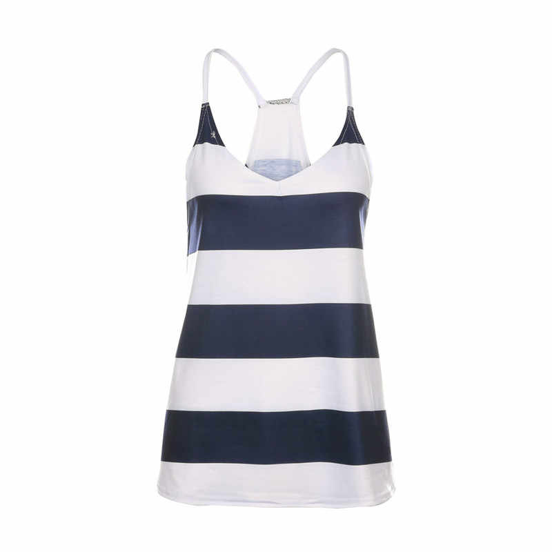 Women Striped Camis Top Sexy V-Neck Sling Sleeveless Ladies Loose Comfortable Top for Streetwear