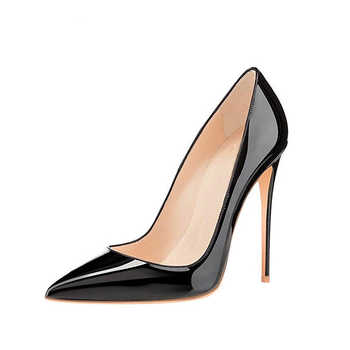 GENSHUO Women Pumps Brand High Heels Black Patent Leather Pointed Toe Sexy Stiletto Shoes Woman Ladies Plus Big Size 11 12