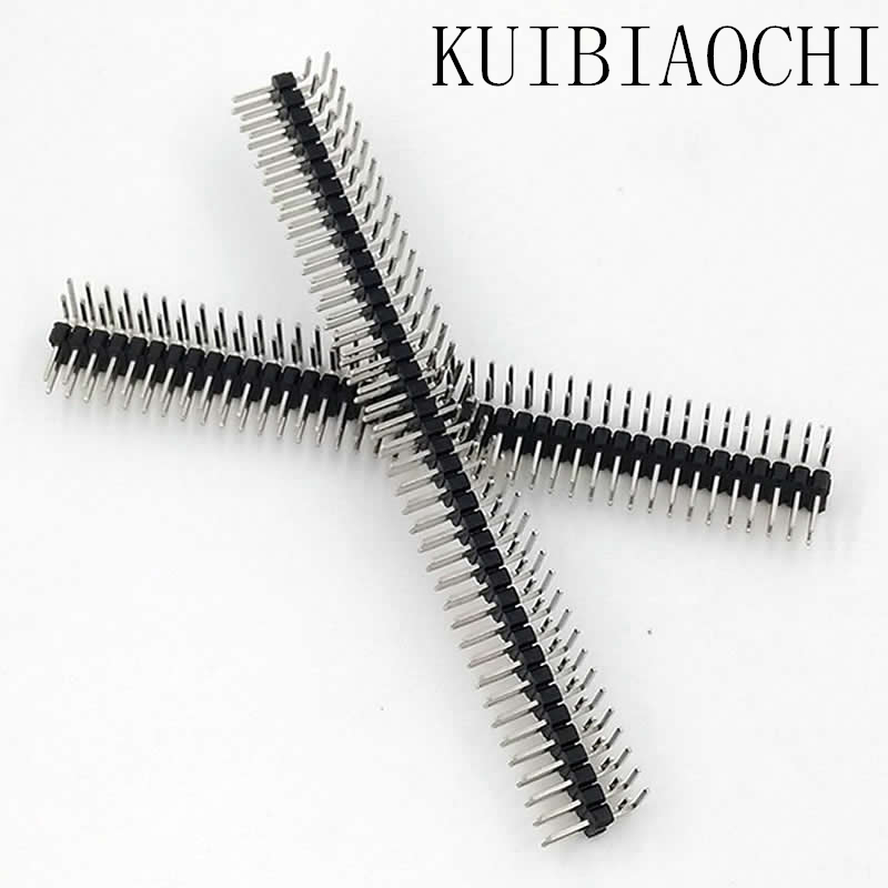A05 5PCS 2.54mm 2 x 40 Pin Male Double Row Right Angle Pin Header Strip pin header double row angle 2 pcs new 2 54mm pitch 2x20 pin 40 pin female double row long pin header strip pc104