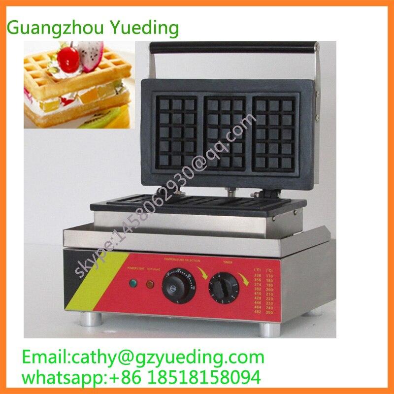 China Supplier 3pcs Rectangular Waffle Maker Bakery Machines,Square Shape Waffle Machine Baking Equipment
