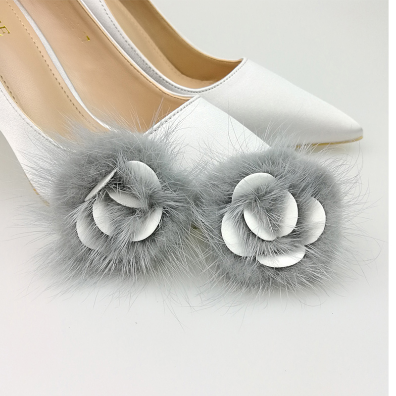 Pompom Mink-Fur for Shoes DIY Jewelry Brooch Cloth Making-Craft 2pcs/Lot Flower 6cm Imported