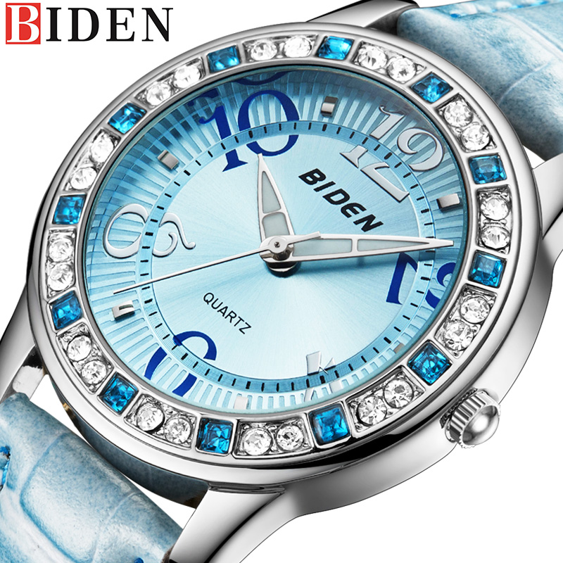 BIDEN Classic Casual Women Watch Rhinestone Female Clock Leather Strap Lady Watches Dress Quartz Clocks casual women fashion watch lady dress wristwatches quartz clocks women leather strap watches relogio clasiic sport gift g031