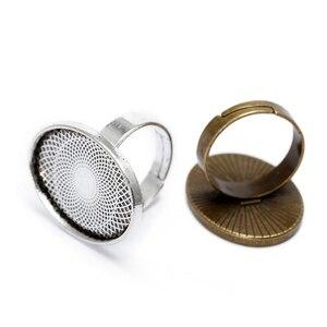 BASEHOME 10 шт., регулируемые основы для колец, кабошоны, винтажная кольцевая заготовка, основа, подходит для кабошонов 18x25 мм