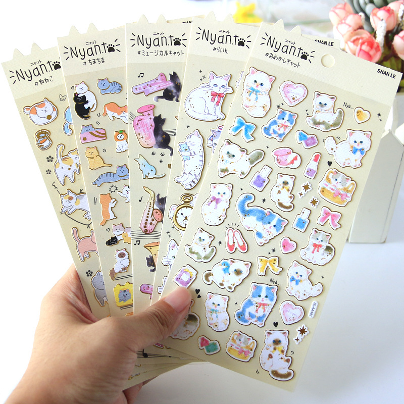 Little Cat Kitty Bullet Journal Gilding Decorative Adhesive Stickers DIY Decoration Diary Stationery Stickers Children Gift